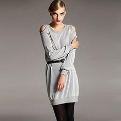 Decorate Shoulder Long Sleeve Knitwear Dress