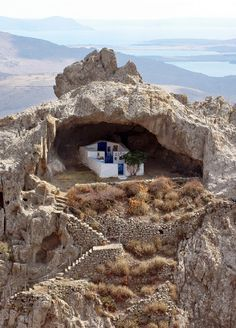Cave Chapel in Limnos Island, Greece Mykonos, Santorini, Places To Travel, Places To See, Wonderful Places, Beautiful Places, Saint Chapelle, Places In Greece, Greece Travel