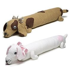 Dog draught excluder free knitting pattern. So cute! I like the brown one!
