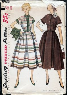 Vintage 1950s Dress and Short Jacket Collar and Cuff Simplicity 3436 | PenelopeRose - Supplies on ArtFire