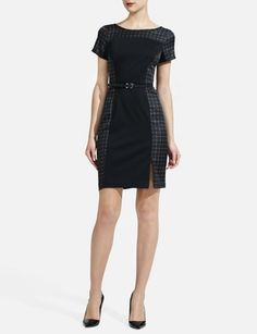 Mixed-Fabric Sheath Dress | Women's Dresses | THE LIMITED