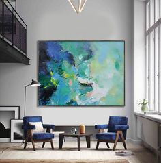Handmade Extra Large Contemporary Painting, Huge Abstract Canvas Art, Original Artwork by Leo. Hand paint. Green, blue, yellow, pink.: