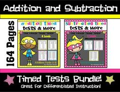 Addition+and+Subtraction+Timed+Test+Differentiated+Instruction-164+pages+from+Stefanie+Bruski+on+TeachersNotebook.com+-++(164+pages)++-+This+164+page++resource+includes+timed+tests+and+practice+worksheets+for+addition+and+subtraction+math+facts+0-12.Great+for+differentiated+instruction!