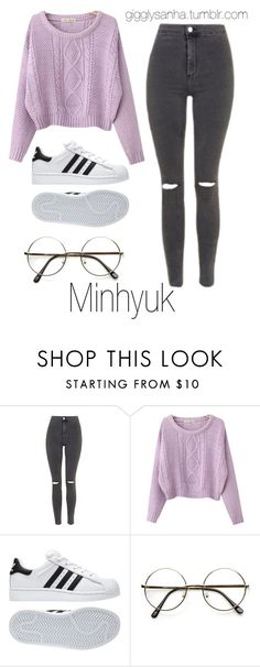 """Movie Date // Minhyuk"" by suga-infires ❤ liked on Polyvore featuring Topshop, Chicnova Fashion and adidas"