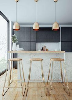 Cozinha decorada com lustres em cor cobre | Eu Decoro