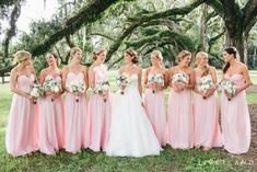 Long Pink Chiffon Bridesmaid Dresses-Thinking about a May date and these would be the perfect color Bridesmaid dresses