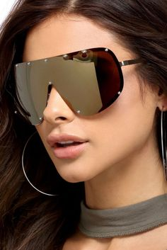 Gold Studded Shield Sunglasses