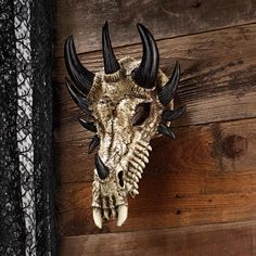 Treacherous Bones Gothic Dragon Skull Trophy Mount Medieval Wall Sculpture
