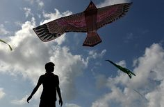 A Sri Lankan man flies with kite on the Galle Face promenade in the capital, Colombo.