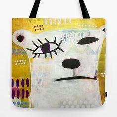 Unique Tote Bag 18 x 18 Square Polar Bear by MadaraMasonStudio