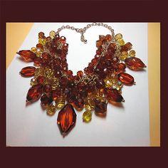 Let's Get Vintage - Additions New - Vintage Photo 2: Tantalizing topaz crystal cluster bib necklace. UNSIGNED - Vintage Costume Jewelry
