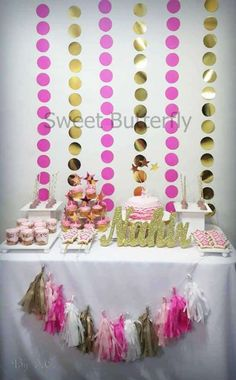 Pink and gold birthday party! See more party planning ideas at CatchMyParty.com!
