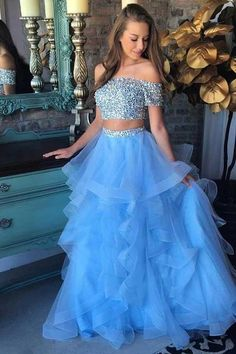 Two Piece Off-the-Shoulder Blue Tiered Tulle Prom Dress with Sequins  G183