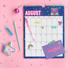 May August be a magical month to follow your dreams! Planners, Creative Bookmarks, Unicorn Fashion, Kids Stationery, Cute Stationary, Party Pops, Cute Pens, School Bags For Kids, Cute School Supplies