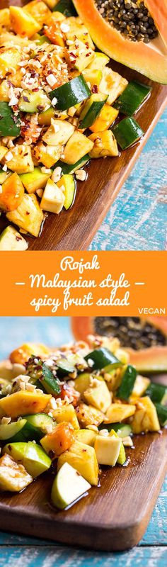 Sweet, sour, salty and spicy rojak is a delicious and refreshing Malaysian style fruit salad spiked with chilli and peanuts (vegan). via @Quite Good Food