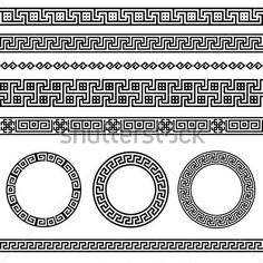 Greek Traditional Meander Border Vector Antique Frame Decoration Element Patterns IN Black and White Ethnic Vector stock vector - Clipart. Armband Tattoo, Arm Tattoo, Sleeve Tattoos, Spartan Tattoo, Greek Pattern, Mythology Tattoos, Black And White Colour, White Colors, Marquesan Tattoos