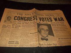 Vintage World War 2 Newspaper Congress Votes War 1500 feared Killed Hawaii 1941