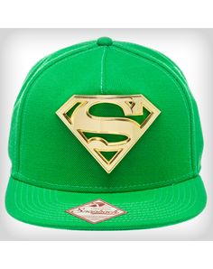 Superman Green with Gold Metal Snapback Hat