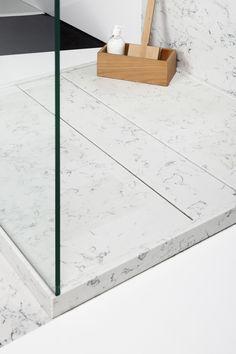 shower linear trap detail_Silestone Lagoon quartz