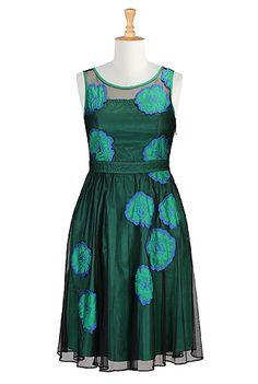 Illusion floral applique tulle dress
