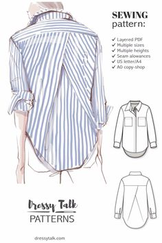 Oversized Shirt Womens Sewing Pattern - Shirt Pattern - Blouse Sleeve Pattern - Ladies Shirt Pattern - Button Down Shirt Pattern # Sewing Patterns Shirt Oversized shirt with back pleat sewing pattern Shirt Patterns For Women, Mens Sewing Patterns, Blouse Patterns, Clothing Patterns, Ladies Shirt Pattern, Shirt Collar Pattern, Tunic Pattern, Top Pattern, Sleeve Pattern