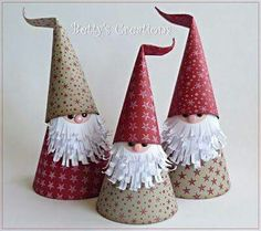 Who doesn't love adorable gnomes and easy kids crafts? These super cute Christmas gnomes (or Santas )can be perfect Christmas crafts for the kids because they are super easy to make, and doesn't need any special crafting . Christmas Paper Crafts, Christmas Gnome, Christmas Projects, Holiday Crafts, Christmas Holidays, Christmas Gifts, Christmas Ornaments, Christmas Decorations With Paper, Origami Christmas