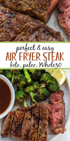 Air Fryer Steak is a foolproof method that comes out perfectly every time. Air f. - Paleo Recipes - Air Fryer Steak is a foolproof method that comes out perfectly every time. Air fryer steak is a qui - Air Fryer Recipes Breakfast, Air Fryer Dinner Recipes, Air Fryer Recipes Easy, Air Fryer Recipes Steak, Breakfast Cooking, Breakfast Dishes, Paleo Recipes, Real Food Recipes, Cooking Recipes
