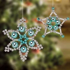 """""""beaded christmas ornaments by Lensia"""" ignore the link, leads to spammy looking site. Just keeping it for image idea for gifts. Beaded Christmas Decorations, Christmas Ornaments To Make, Snowflake Ornaments, Christmas Snowflakes, Beaded Ornaments, Christmas Jewelry, Handmade Christmas, Holiday Crafts, Beaded Snowflake"""