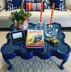 """The final reveal...We're so excited to share our """"Restoration with a Twist"""" project!  We ❤️ it so much but have a feeling it won't be in the shop for very long!  Thank you @eddieross for your constant decor inspiration!  #restorationproject #bluelacquer #coffeetable #eddieross #modernmix"""