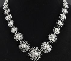 """Thailand Sterling Silver Graduated Filigree Flower Link Chain Necklace 17"""" in Jewelry & Watches, Ethnic, Regional & Tribal, Asian & East Indian   eBay"""