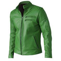 Regular Fit Part Wear Men Green Leather Jacket