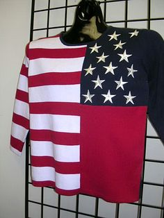 PLUS size 2X 4th of july american flag art design -  machine embroidered star motifs  - TERAZZO womens sweater