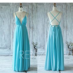 2017 Sky Blue Chiffon Bridesmaid Dress, V Neck Wedding Dress, Spaghetti Strap Prom Dress, Backless Long Evening Gown Floor Length (C006) by RenzRags on Etsy https://www.etsy.com/listing/361335049/2017-sky-blue-chiffon-bridesmaid-dress-v