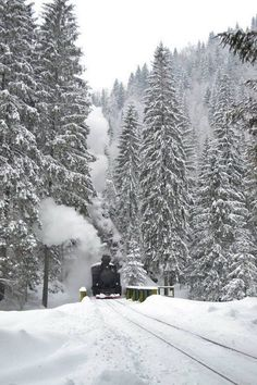Touristic steam train, Maramures, Romania www. Beautiful Places To Visit, Places To See, Train Pictures, Snowy Pictures, Mountain Pictures, Visit Romania, Romania Travel, By Train, Winter Scenes