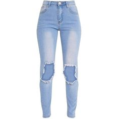 Kim Light Wash Open Knee Rip Slim Jean ❤ liked on Polyvore featuring jeans, pants, bottoms, calças, destructed jeans, destroyed jeans, blue jeans, blue skinny jeans and ripped blue jeans
