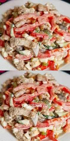 """Meat salad """"Men's joy"""" - melts in the horn .- Meat salad """"Men's joy"""" – melts in the horn …- Meat salad """"Men's joy"""" – melts in your mouth and never eats! New Recipes, Salad Recipes, Dinner Recipes, Cooking Recipes, Healthy Recipes, Chicken Recipes Dry, Meat Salad, Food Platters, Easy Meals"""