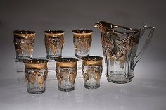 ca. 1913 #150 BOSC PEAR Indiana Glass CRYSTAL w/GOLD Water Pitcher & 6 Tumblers