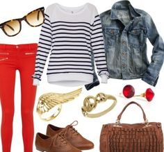 black flats and purse with the stripped tee and red pants, jean jacket Maroon Pants Outfit, Colored Pants Outfits, Sweater Outfits, Casual Outfits, Cute Outfits, Red Outfits, Red Fashion, Autumn Fashion, Fashion Outfits
