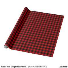 Rustic Red Gingham Pattern Seasonal Style Wrapping Paper Buffalo Plaid Wrapping Paper, Black Wrapping Paper, Wrapping Paper Design, Gift Wrapping Paper, Custom Wrapping Paper, Wrapping Ideas, Red Gingham, Red And Black Plaid, Dark Red