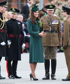 Well it IS St. Patrick's Day! The Duchess of Cambridge was dress head-to-toe in green as she visited the 1st Battalion Irish Guards for annu...