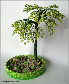 Draht-Baum Skulptur Perlen Bonsai lila blaue Blüten von CassandraZ ...