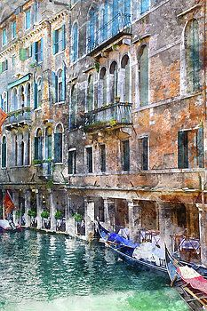 Venice Italy Buildings and Gondolas by Brandon Bourdages