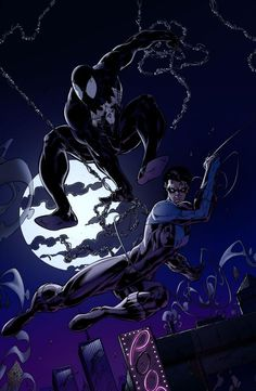 Spiderman+Nightwing by charco on DeviantArt Batman Spiderman, I Am Batman, Marvel Vs, Marvel Dc Comics, Nightwing, Black Spider, Spider Gwen, Show Me A Hero, Spectacular Spider Man
