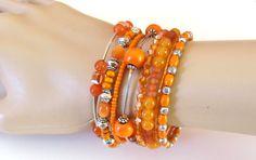 Wide Orange  Beaded Memory Wire Bracelet, Flexible Bangle, Cuff, Stacked, Wrap Around Bracelet on Etsy, $28.00