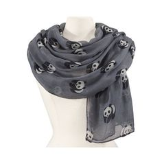 Natures Jewelry Playful Panda Scarf featuring polyvore, women's fashion, accessories, scarves, natures jewelry and viscose scarves