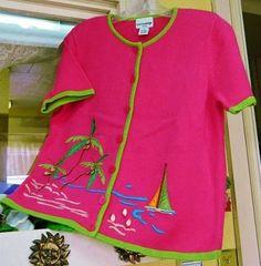 Breckenridge Palm Trees Sailboats Cardigan Sweater PM Fuchsia Lime Orange Tan #Breckenridge #Cardigan
