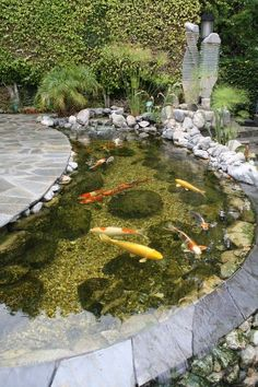 Koi Pond Landscaping: Beautiful Inspirations You'll Love Pond is definitely one of the most popular water features which has become everyone's favorite since ages ago. It doesn't only enhance the beauty of your outdoor living space, but. Backyard Water Feature, Ponds Backyard, Koi Ponds, Backyard Ideas, Pond Landscaping, Landscaping With Rocks, Fish Pond Gardens, Water Gardens, Garden Pond Design