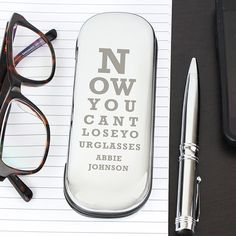 Personalised Eye Exam Engraved Reading Glasses Cases Chrome Plated Hard Case Women Birthday