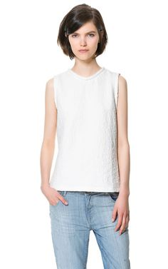 COMBINED JACQUARD BLOUSE - Tops - Woman - ZARA Greece