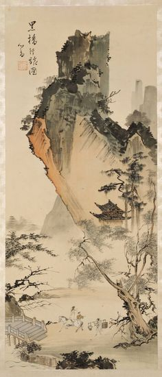 kafkasapartment:  Traveling at the Black Bridge, 19thC.  P'u Hsin-yu. Hanging scroll, ink and color on silk